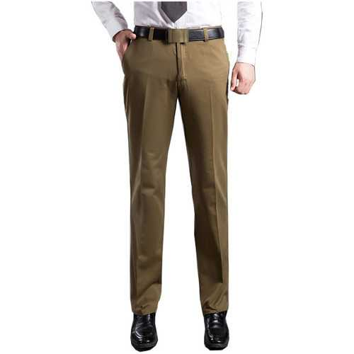 Mens Thick Cotton Trousers Comfort High Waist Straight Leg Casual Pants