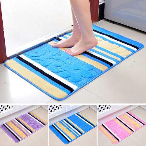 60x40cm Floral Rose Stripe Indoor Floor Mat Anti Slip Door Bathroom Kitchen Rug Carpet