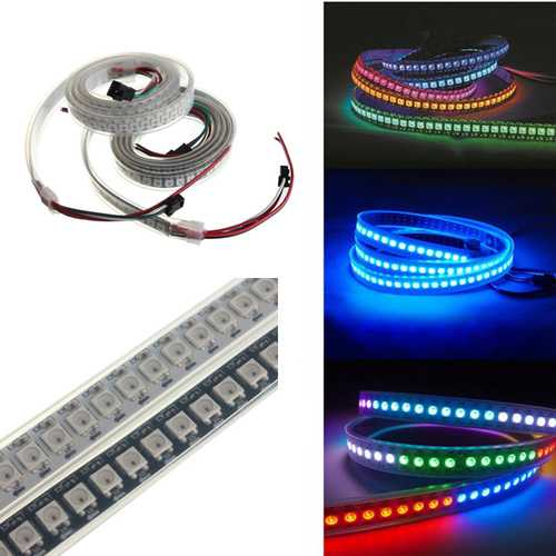 1M 43.2W WS2812B 5050 RGB Waterproof IP67 LED Strip Light Color Changing Individual Addressable DC5V