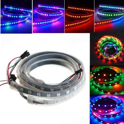1M 18W WS2812B 5050 RGB Waterproof IP67 LED Strip Light Color Changing Individual Addressable DC5V