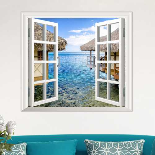 3D Artificial Window View 3D Wall Decals Sea View Room Stickers Home Wall Decor Gift