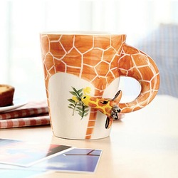 Handmade 3D Animal Shape Coffee Milk Tea Mug Ceramic Water Cup Festival Birthday Gift