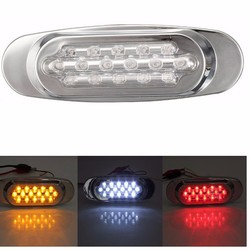 16LED Side Marker Indicator Light For Bus Truck Lorry Trailer Red White Yellow DC12V