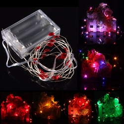 2M 20 LED Battery Powered Heart String Fairy Light For Christmas Party Weddinng Decor