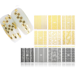 Black Gold Self Adhesive Nail Art Sticker Decal Decoration
