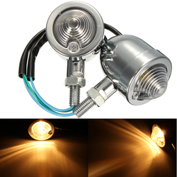12V Motorcycle Bullet Turn Signal Indicator Amber Lights Universal