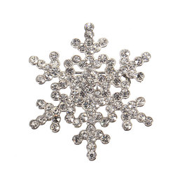 Snowflake Rhinestone Crystal Alloy Brooch Pin For Women