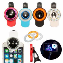 9 in 1 Clip-on Phone Selfie Speedlite 8 LED Flashlight Lamp Wide Angle Fish Eyes Lens Fill Lights