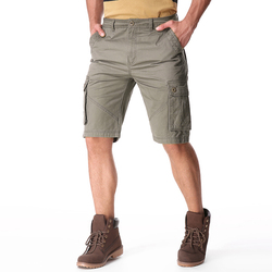 Men Casual Cotton Big Pockets Loose Cargo Military Shorts
