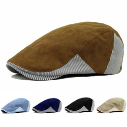 Unisex Men Women Corduroy Cotton Beret Hat Buckle Adjustable Paper Boy Newsboy Cabbie Golf Cap