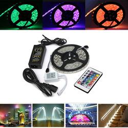 5M 5050 RGB Waterproof 300 LED Flexible Rope Strip Light + 24 Key Controller + 12V Power Adapter