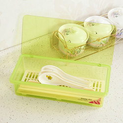 Multifunctional Plastic Kitchen Tableware Chopsticks Spoon Fork Storage Box With Cover Drop Water