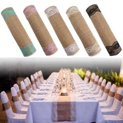 5 Colors Jute Rustic Burlap Lace Table Runner Wedding Party Banquet Decorations