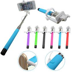 Universal Extendable Self Portrait Remote Button Wire Selfie Stick for Smartphone
