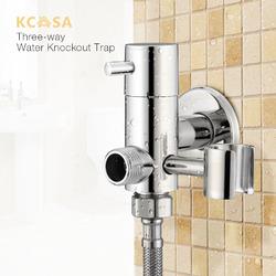 Brass Water Knockout Trap Three Way Angle Valve Water Tap Bathroom Shower Bidet Spray