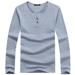Autumn Winter Mens Cotton Long Sleeve T-shirts Casual Buttons T-shirt 6 Colors