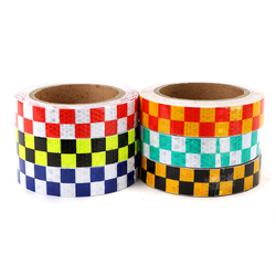25mm*10m Warning Caution Reflective Sticker Dual Color Chequer Roll Signal