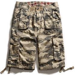 Camouflage Big Multi Pocket Summer Loose Cotton Cargo Shorts Size 30-40