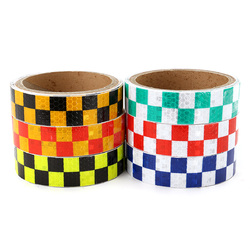 25mm*4m Warning Caution Reflective Sticker Dual Color Chequer Roll Signal