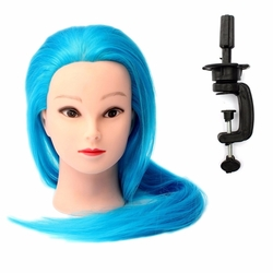 Blue Synthetic Hair Hairdressing Braiding Makeup Training Mannequin Head Model Clamp Holder Salon