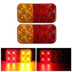 Pair 24V 8LED Brake Tail Light Turn Signal Lamp for Trailer Truck Lorry
