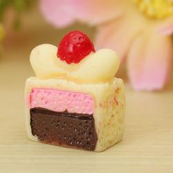 DIY 14x7MM Resin Kawaii Cake Simulation Food Cabochons For Phone Decoration Bun Bag