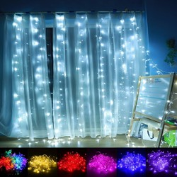 1M*4M 144LED Outdoor Christmas Xmas Wedding Party Fairy String Curtain Hanging Window Light EU Plug