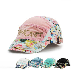 Unisex Cotton Flower Printed Washed Beret Hat Buckle Adjustable Paper Boy Cabbie Golf Gentleman Cap