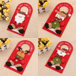 Christmas Decoration Santa Claus Elk Applique Style Lovely Detailed Design Padded Felt Door Hanger