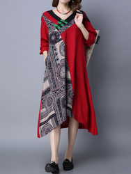 Vintage Patchwork Printing Long Sleeve Loose Women Ethnic Dress