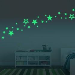 Honana DX-144 38x87CM Fluorescent Glow Hollow Out Stars Wall Sticker