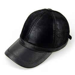 Unisex PU Leather Earflap Ear Muffs Baseball Cap Adjustable Fleece Lining Golf Windproof Outdoor Hat