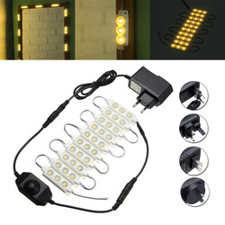 1.5M SMD5050 Waterproof Warm White LED Module Strip Light Kit Mirror Signage Lamp + Adapter DC12V