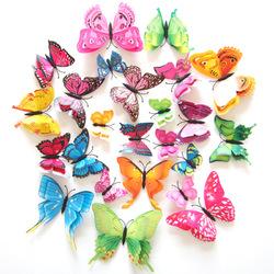 12PCS 7 Colors 3D Double Layer Butterfly Wall Sticker Fridge Magnet Home Decor Art Applique
