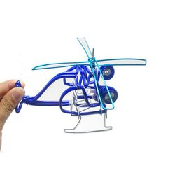 Creative Hand-made Helicopter Toy Model Plane Kids Gift Decor Collection Multi-colors