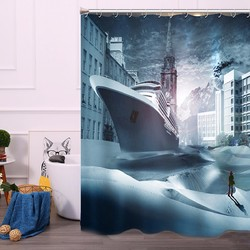 180*200cm Ocean Liner Cruise Ship Sea in Town Bathroom Shower Curtain Polyester 12 Hooks