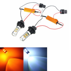 12V 20W 1000LM Dual Color 7440 2835 LED Bulbs For Daytime Running Lights Turn Signal Light
