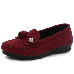Casual Low Top Women Slip On Flat Shoes In Suede
