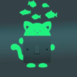 Honana DX-139 Fluorescent Glow Cat Thinking Fish Switch Wall Sticker Home Bedroom Decor