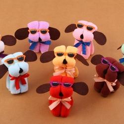 Microfiber Cotton Towel Hot New Dog Cake Shape & Sun Glassess Towel Cotton Washcloth Wedding Gifts
