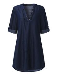 Casual Women V-Necklace Up Asymmetrical Denim Shirtdresses