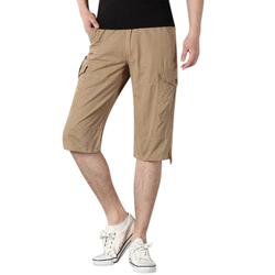 Men's Casual Knee Length Shorts Summer Loose Outdoor Cotton Short Pants
