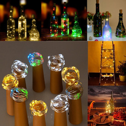 Battery Powered 15 LEDs Cork Shaped LED Sliver Wire Starry Light Wine Bottle Lamp for Xmas Party Out