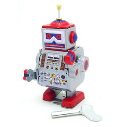 Classic Vintage Clockwork Wind Up Robot Kids Children Reminiscence Tin Toys With Key