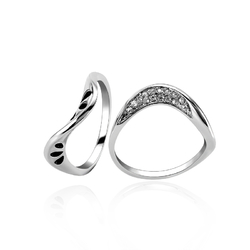 Trendy Irregular Platinum plated Rhinestones Women Ring