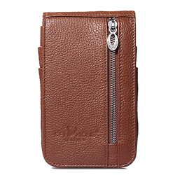 6 Inches Cell Phone Men Genuine Leather Cowhide Vintage Waist Bag