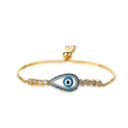 Platinum Gold Plated Evil Eye Zircon Bracelet Adjustable Unique Jewelry for Women