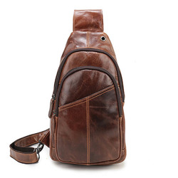Ekphero® Men Vintage Genuine Leather Retro Crossbody Bag Chest Bag