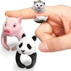 Cute Animal Cartoon Panda Dog Pig Tiger Parrot Finger Ring Jewelry for Men Women