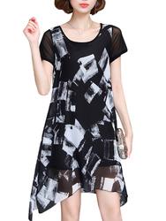 Elegant Women Printed Irregular Short Sleeve Chiffon Dresses